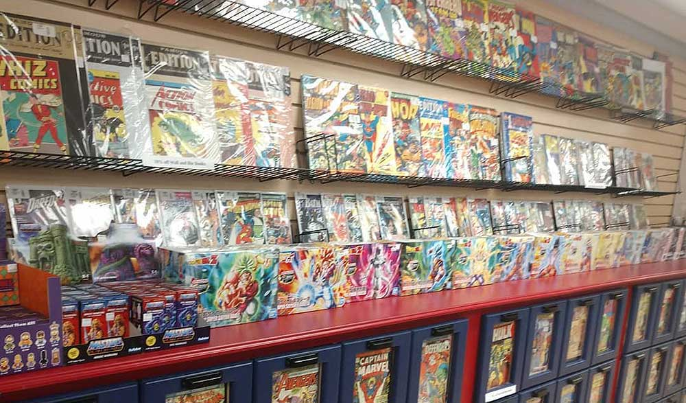 Wall racks and drawers full of comic books